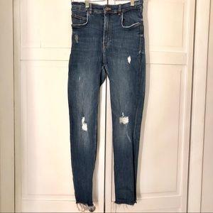 Zara High Waisted Skinny Distressed Jeans
